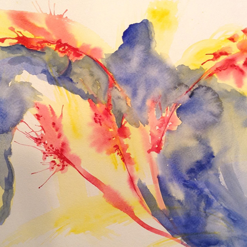 an abstract watercolor painting in blue, red and yellow - In the Loop story