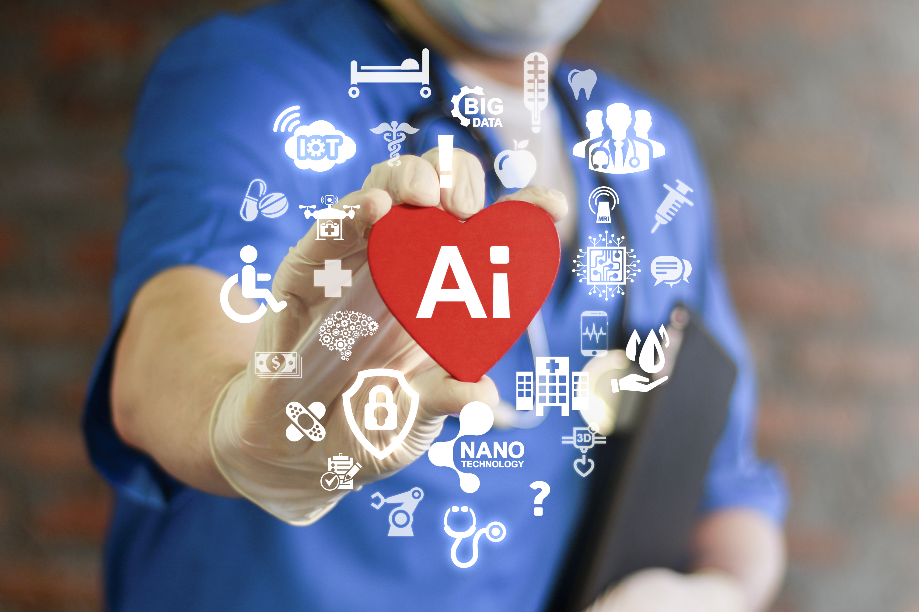 physician or medical staff person holding a heart symbol with Artificial Intelligence icon and other icons representing futuristic technology in medicine