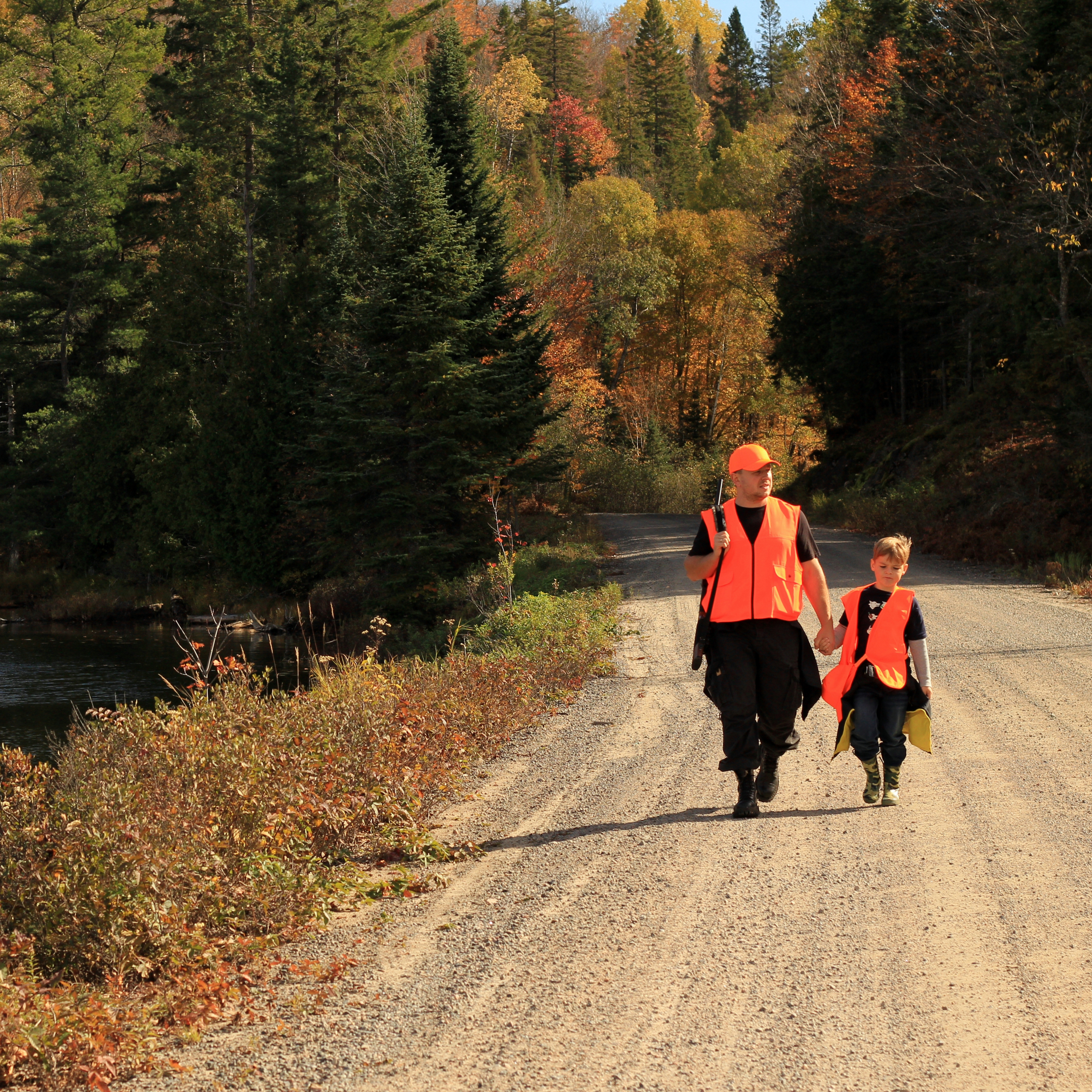 an adult male hunter with an orange hunting vest and a gun, walking on a wooded, gravel road holding a young boy's hand who is also wearing an orange safety vest