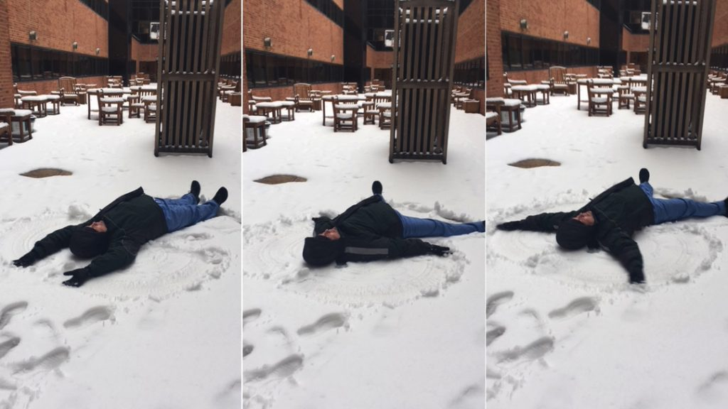 In the Loop patient care assistant Kirby Rosenberg making a snow angel