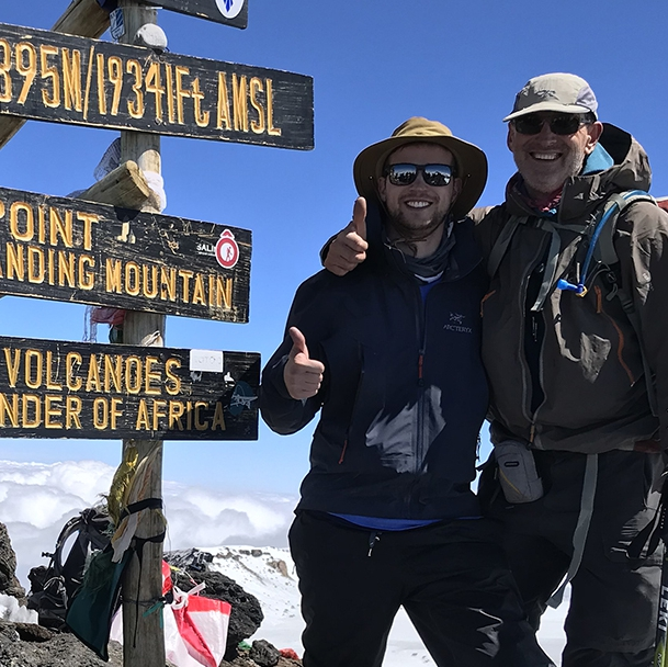 cardiac ablation patient Alan Kostrzewa with his son on the summit of Mount Kilimanjaro