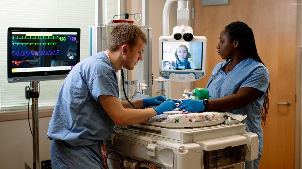 teleneonatology session at the Mayo Clinic Simulation Center