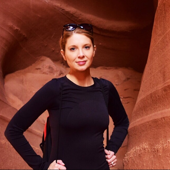 heart transplant patient Elise Campbell hiking in a cave
