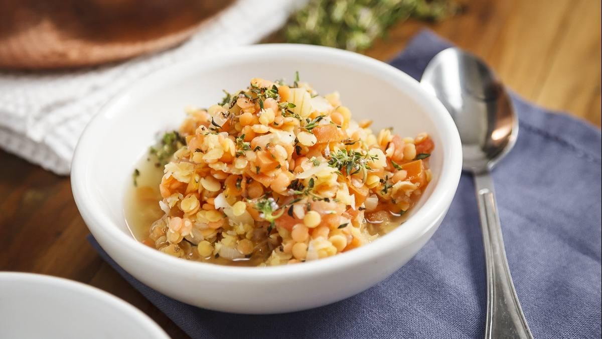 a bowl of lentil soup or stew