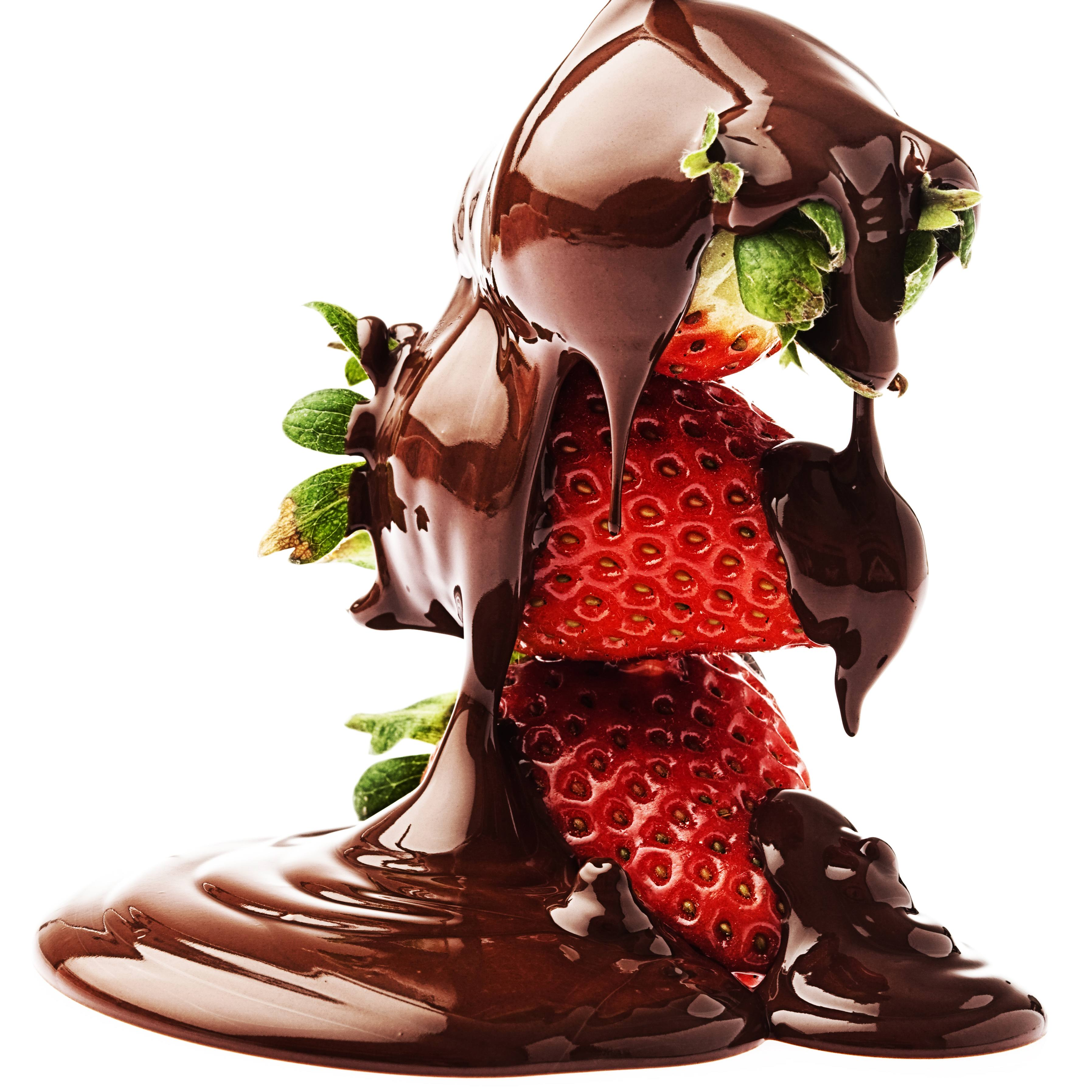 strawberries drizzled with chocolate