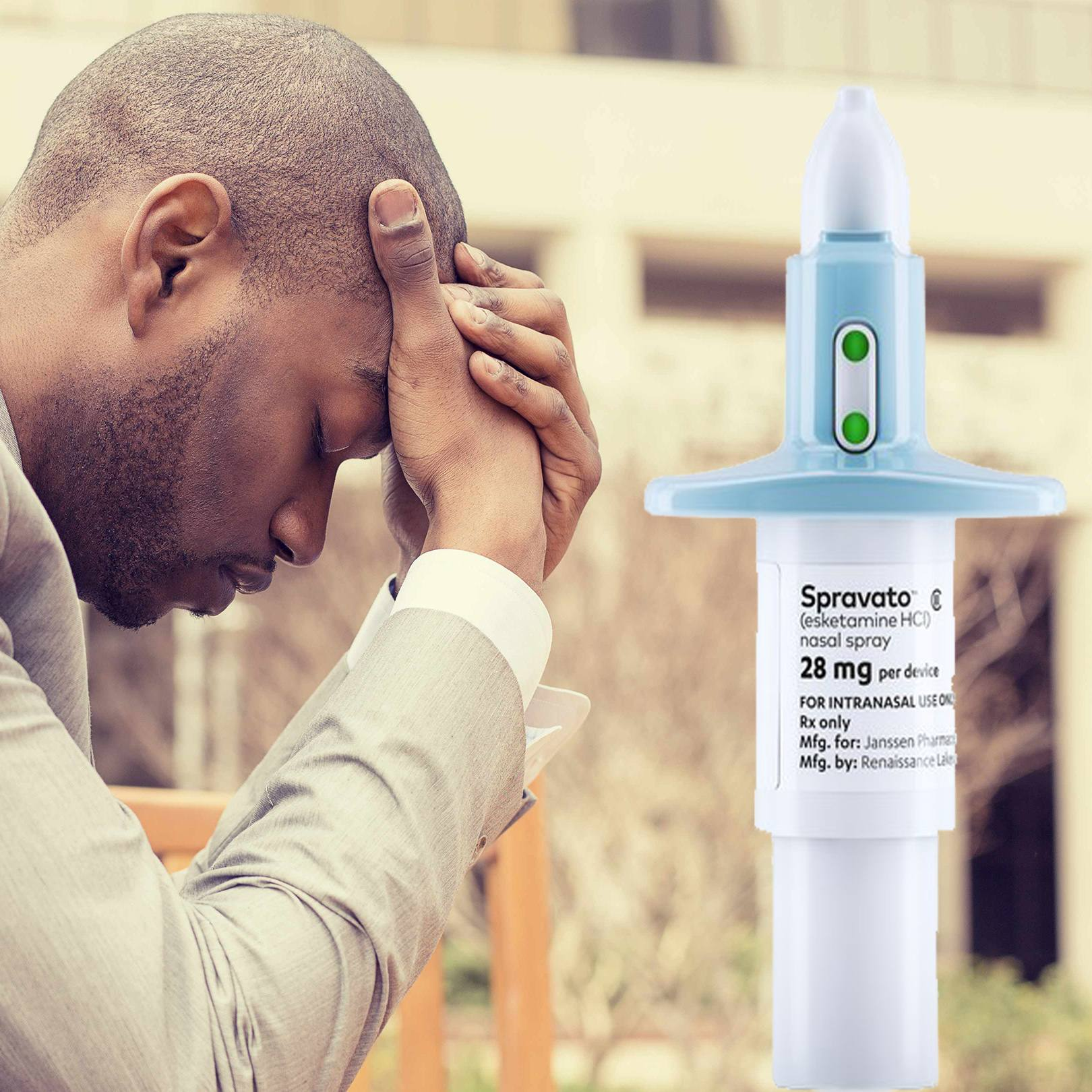 A young man with depression holds his head in his hands and a nasal spray esketamine in the foreground.