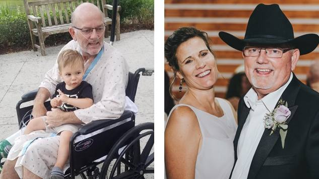 two pictures of Florida lung transplant patient Harold Winsett in a wheelchair holding a grandchild and in a wedding picture with his wife