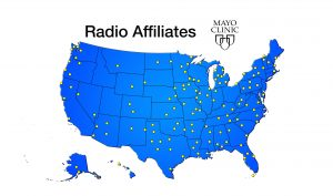Map of USA, with locations of affiliate stations