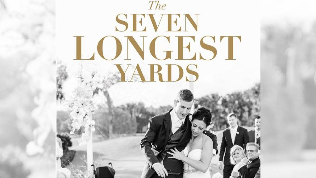 In the Loop patient Chris Norton and his wife Emily at their wedding, on the cover of their book 'The Seven Longest Yards'