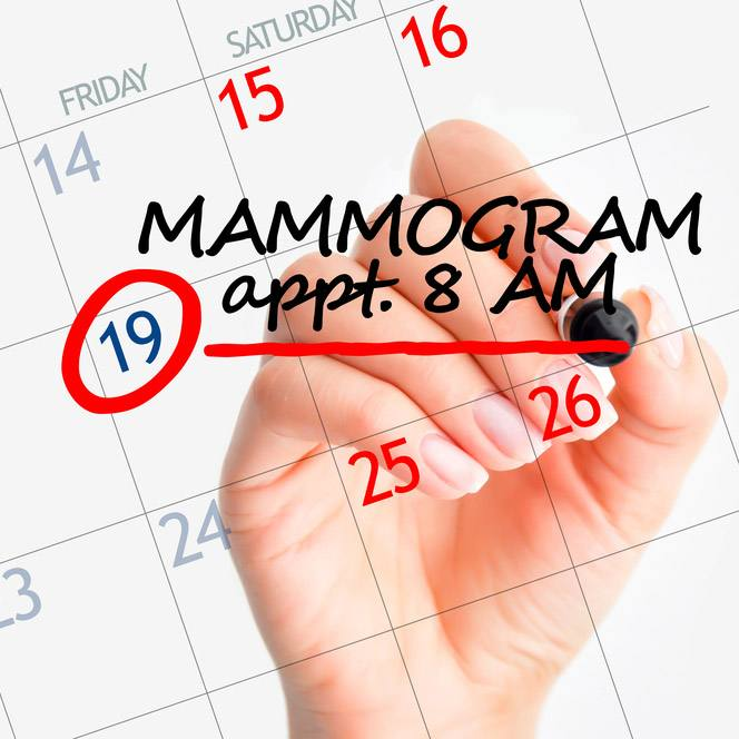 a calendar with a date circled and a hand writing MAMMOGRAM appt 8 AM