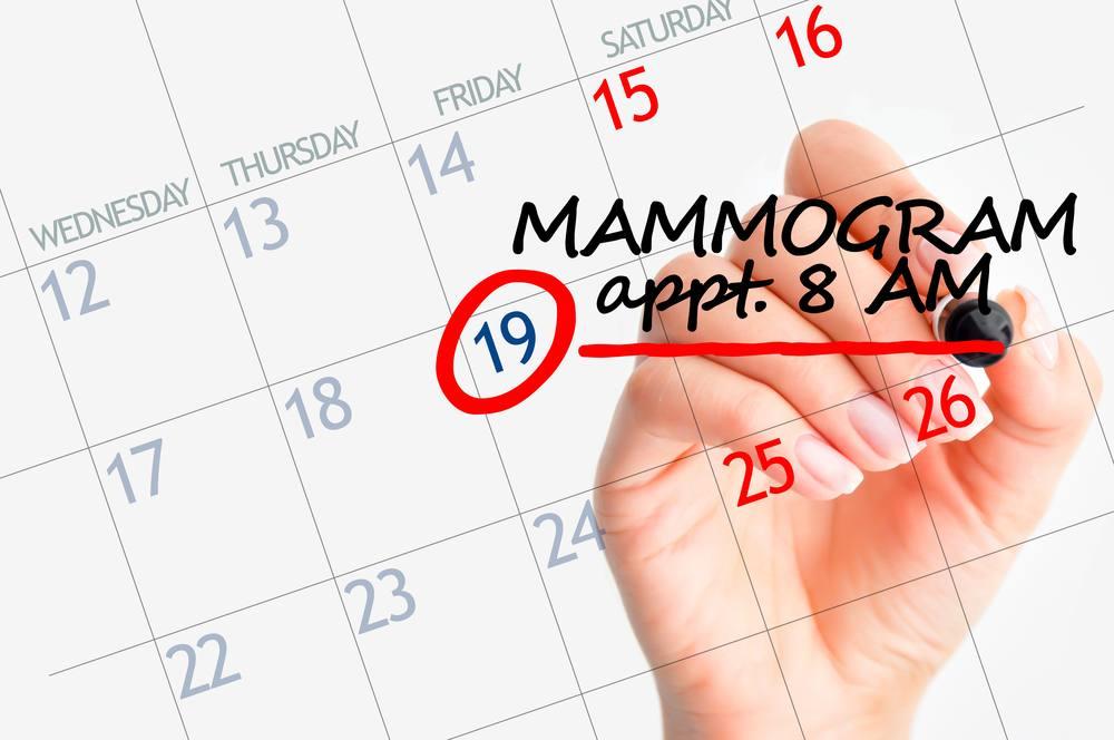 a calendar with a date circled and a hand writing MAMMOGRAM appt 8 AM