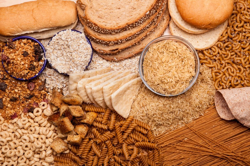 a display of whole grains and whole grain products