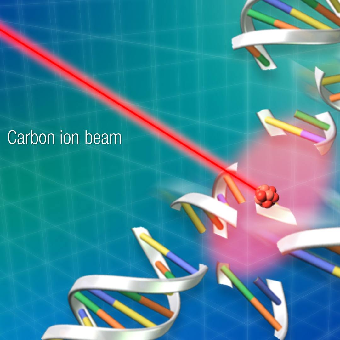 illustration of a carbon ion beam
