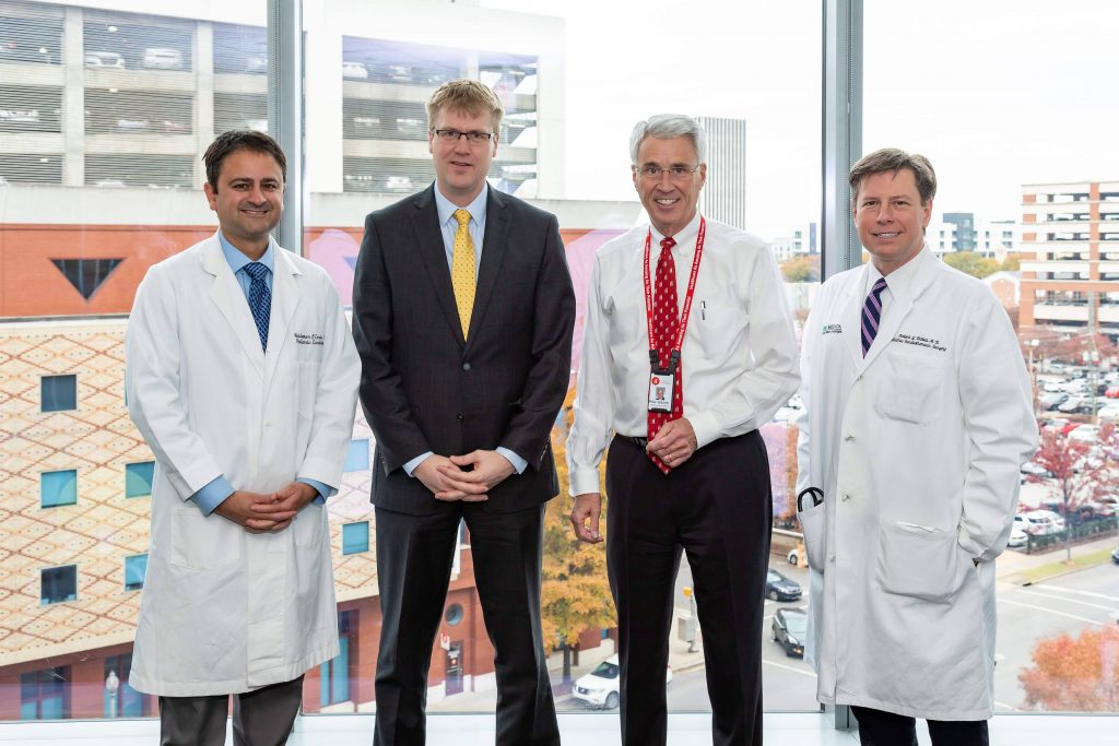 Pictured left to right: Dr. Waldemar F. Carlo, Dr. Tim Nelson, Children's of Alabama CEO and President Mike Warren and Dr. Dabal.