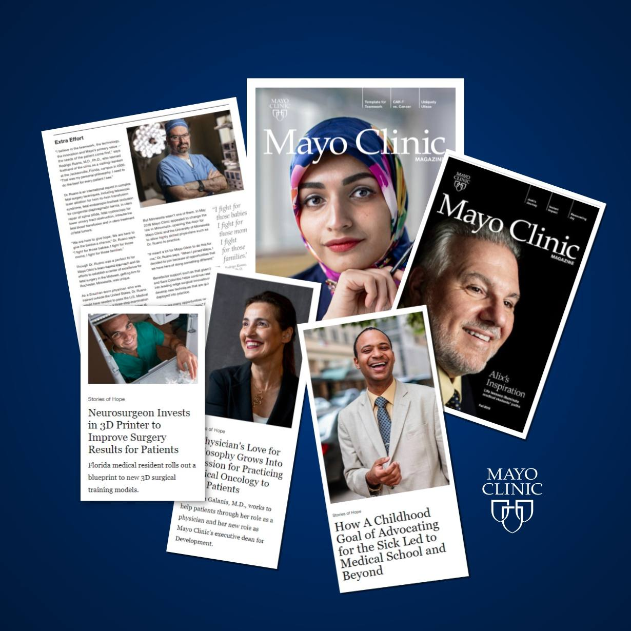 a collage of different Mayo Clinic Magazine covers and articles in a blue background display I