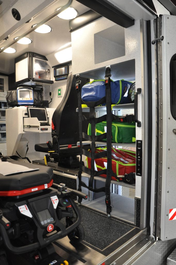 Equipment storage inside the back of a redesigned ambulance