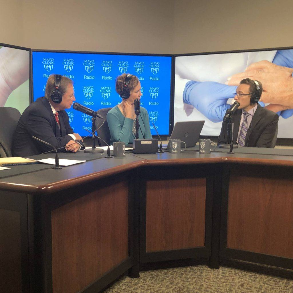 Dr. John Davis on Mayo Clinic Radio in the studio with Dr. Shives and Tracy
