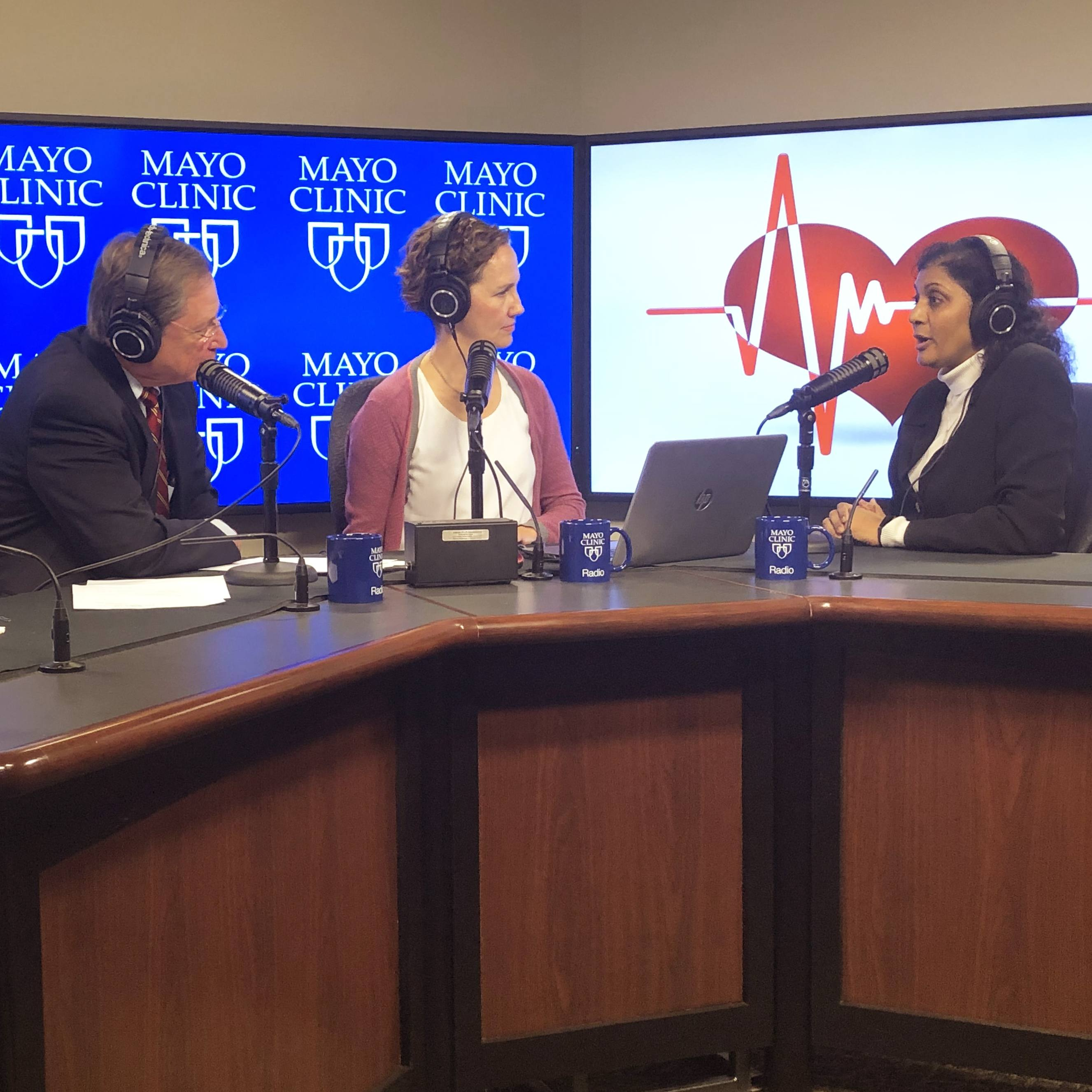 Dr. Rekha Mankad in the radio studio being interviewed by Dr. Shives and Tracy McCray