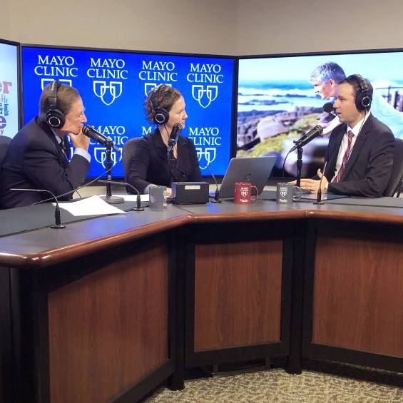 Dr. Derek Lomas in the radio studio being interviewed by Dr. Shives and Tracy McCray