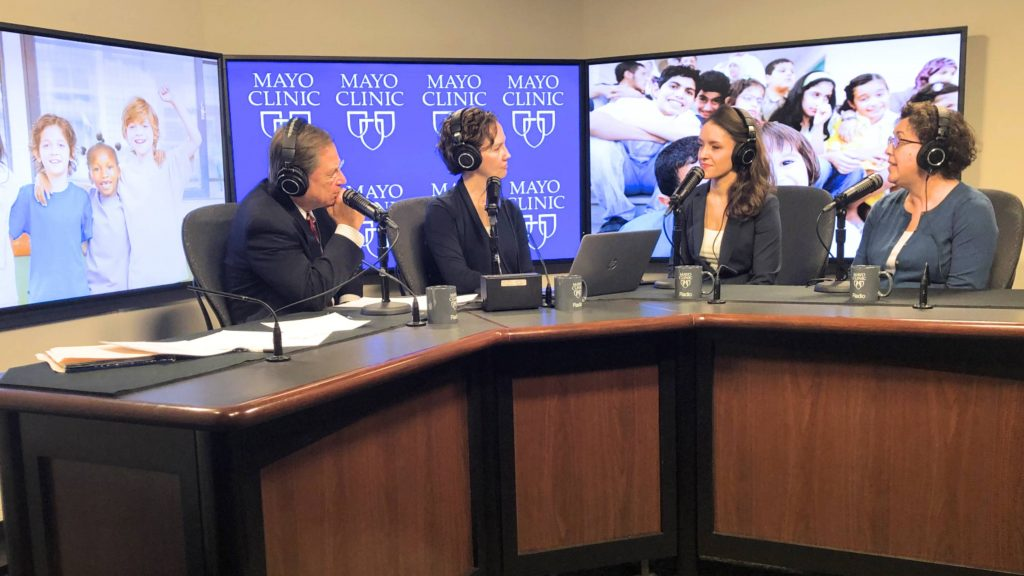 Dr. Ana Creo and Janet Hansen being interviewed by Dr. Tom Shives and Tracy McCray in the Mayo Clinic Radio Studio