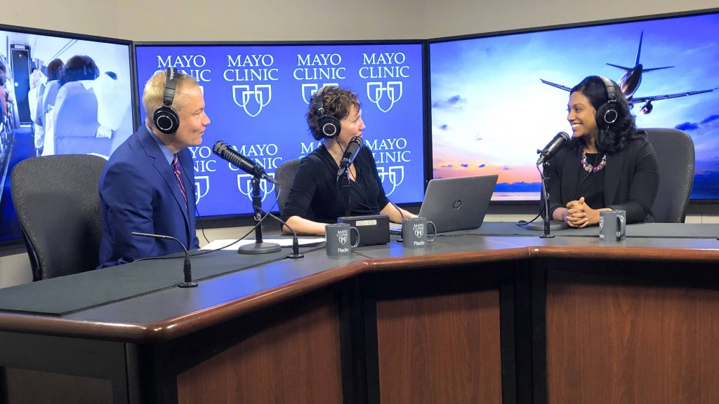Dr. Nipunie Rajapakse being interviewed by Dr. Tom Shives and Tracy McCray in the Mayo Clinic Radio Studio