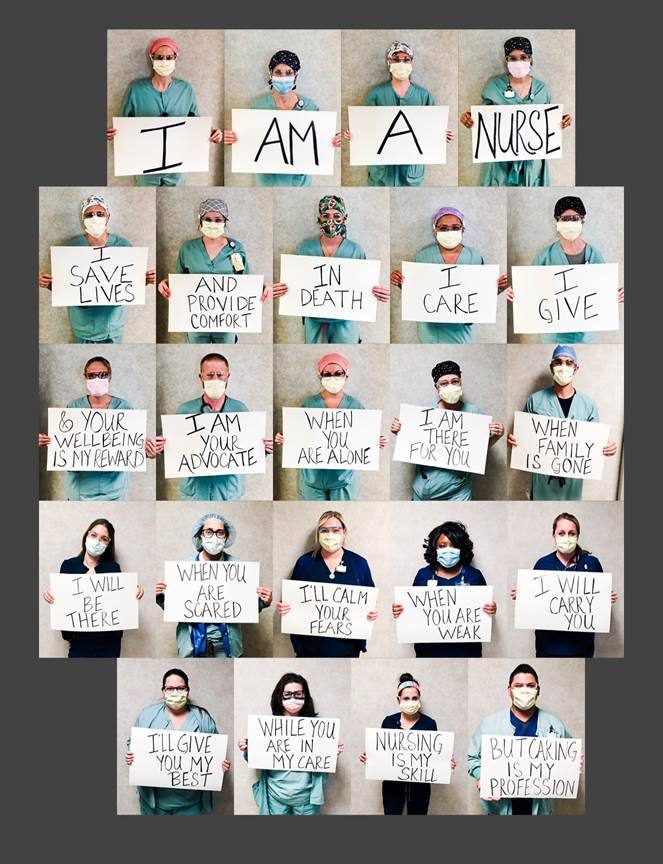 collage of several photos, of Mayo Clinic Arizona nurses in scrubs and facemasks holding signs with caring messages