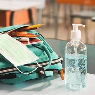 Backpack with hand sanitizer