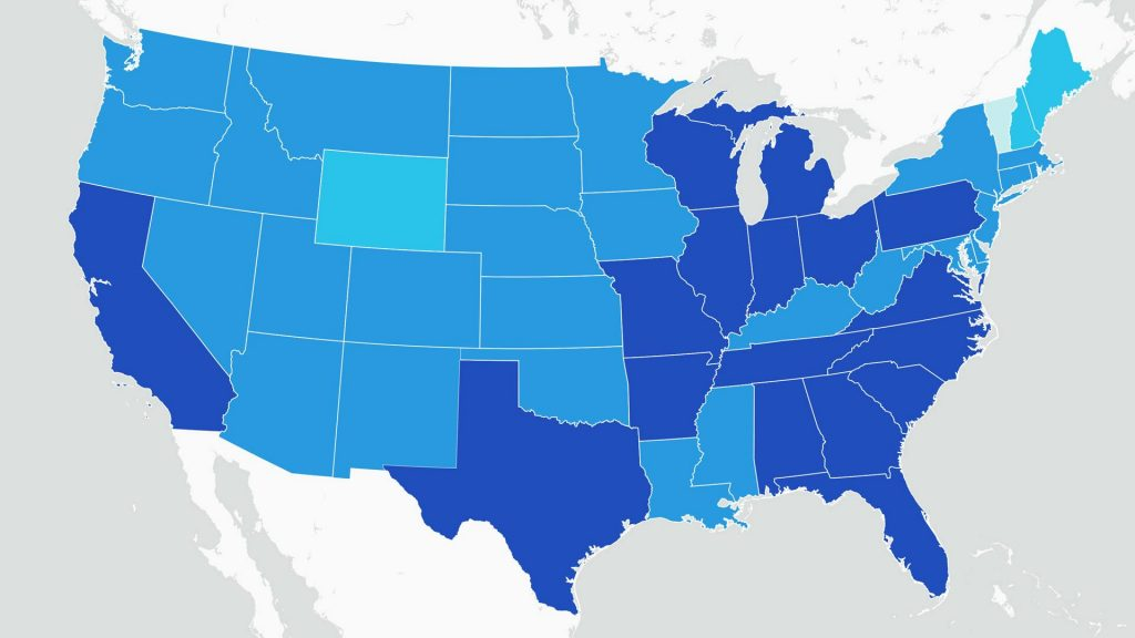 Mayo Clinic's COVID-19 tracking map graphic illustration with different shades of blue on the states, providing latest local data