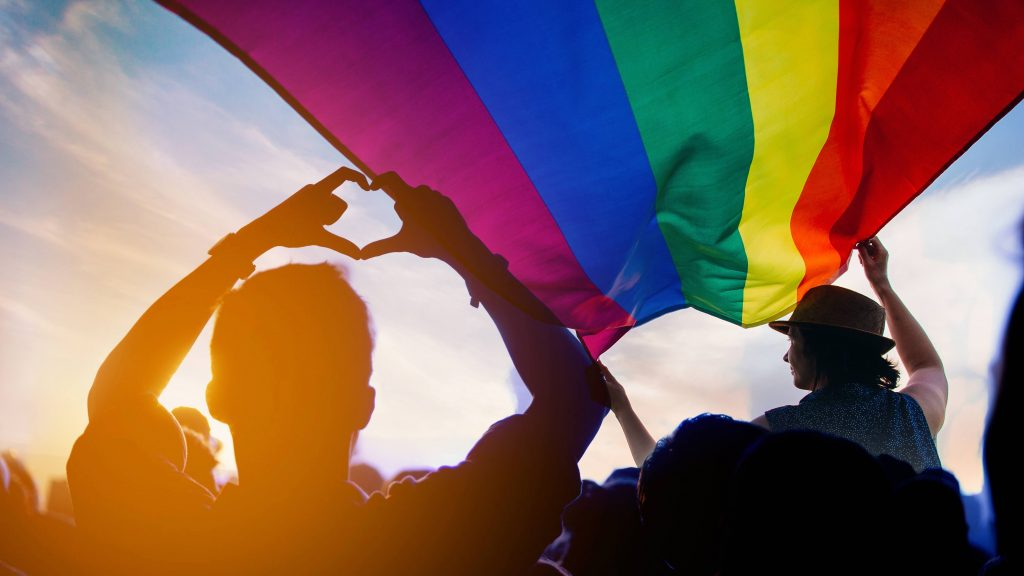 a group of people walking in the sunshine holding a rainbow flag representing diversity