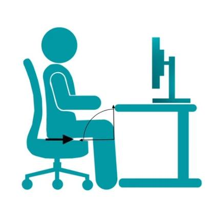 a graphic illustration of a person sitting properly at a computer desk demonstrating proper ergonomics
