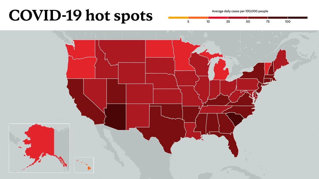 Feb. 1, 2021- Mayo Clinic COVID-19 trending map using red color tones for hot spots
