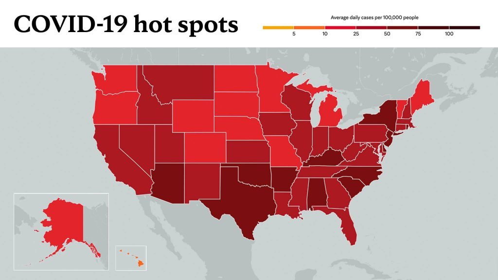 Feb. 4, 2021- Mayo Clinic COVID-19 trending map using red color tones for hot spots