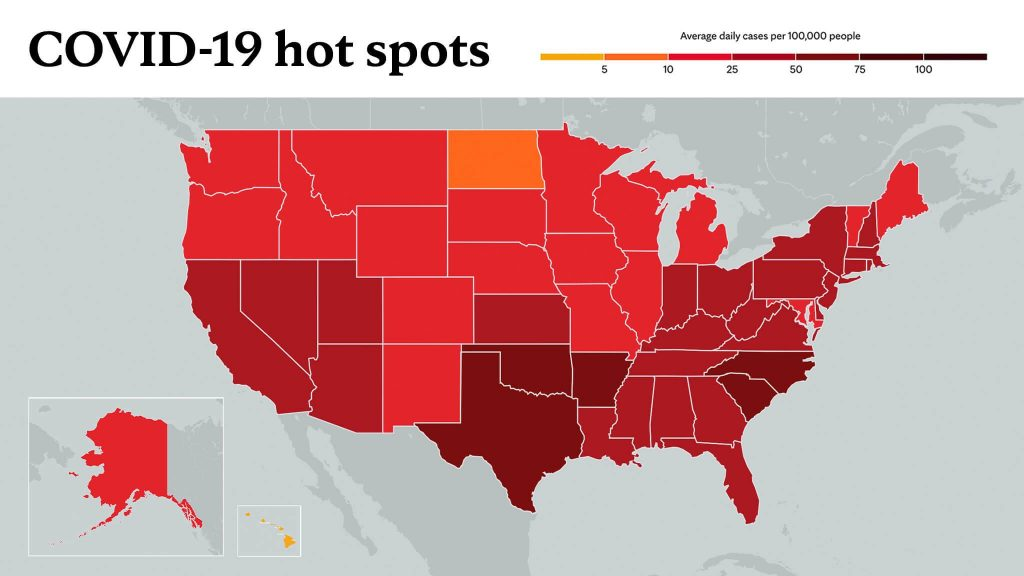 Feb. 10, 2021- Mayo Clinic COVID-19 trending map using red color tones for hot spots