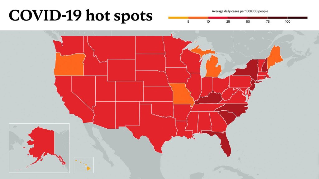 Feb. 24, 2021- Mayo Clinic COVID-19 trending map using red color tones for hot spots