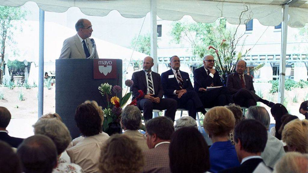 Richard Hill, M.D., speaking at the Mayo Clinic in Arizona dedication ceremony in 1987
