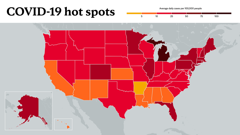 April 15, 2021- Mayo Clinic COVID-19 trending map using red color tones for hot spots