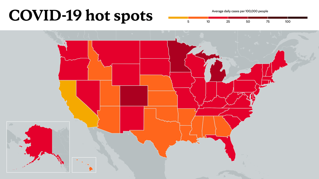 May 6, 2021- Mayo Clinic COVID-19 trending map using red color tones for hot spots