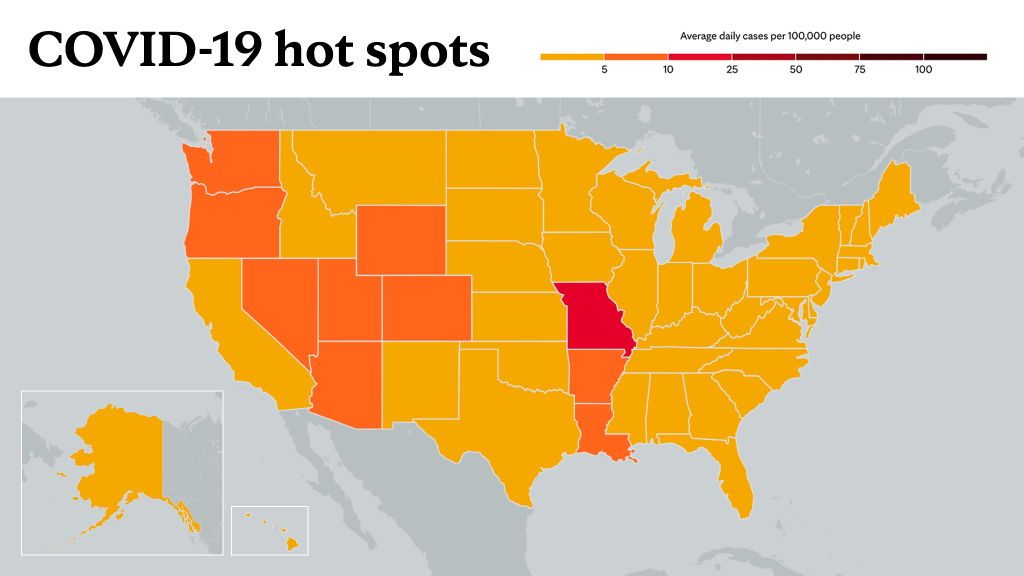 June 24, 2021- Mayo Clinic COVID-19 trending map using red color tones for hot spots