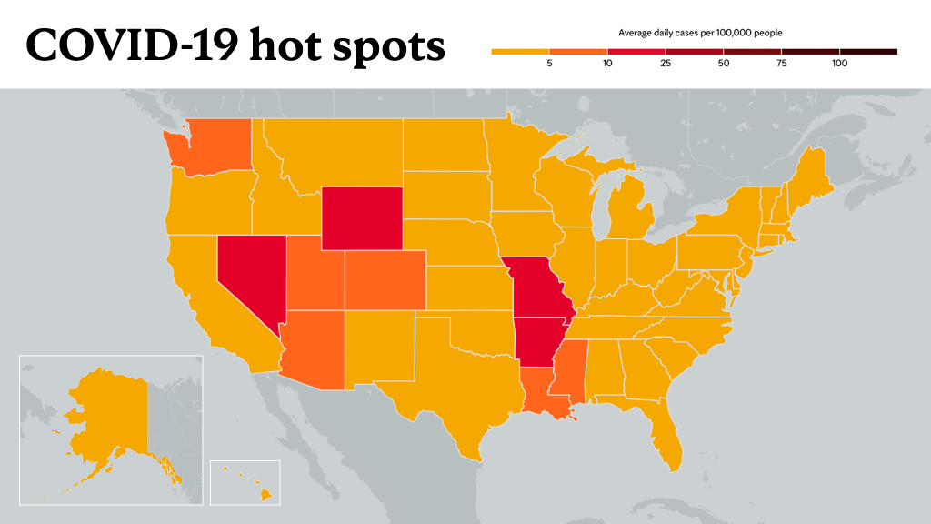 July 1, 2021- Mayo Clinic COVID-19 trending map using red color tones for hot spots