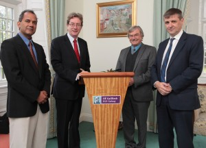 Pictured at the signing: Prof. Lokesh Joshi, Vice President for Research, NUI Galway; Dr. Jim Browne, President, NUI Galway; Dr. Tony Windebank, Deputy Director for Discovery, Mayo Clinic Center for Regenerative Medicine; and Prof. Tim O'Brien, Director of REMEDI NUI Galway.