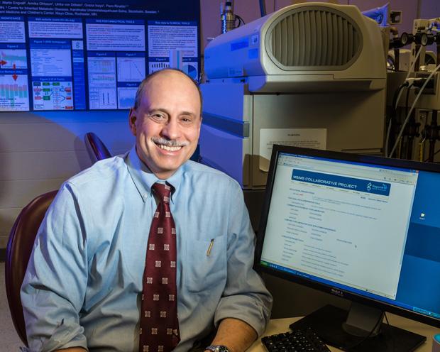 Piero Rinaldo, M.D., Ph.D., in the Biochemical Genetics Laboratory at Mayo Clinic.