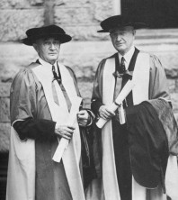 Dr. C.H. Mayo and Dr. W.J. Mayo receiving honorary doctors of law degrees at Villanova, 1937.