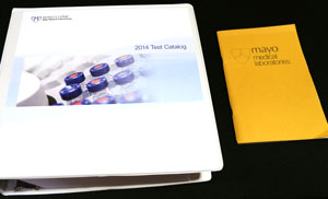 The last edition and first edition of the Mayo Medical Laboratories Test Catalog.
