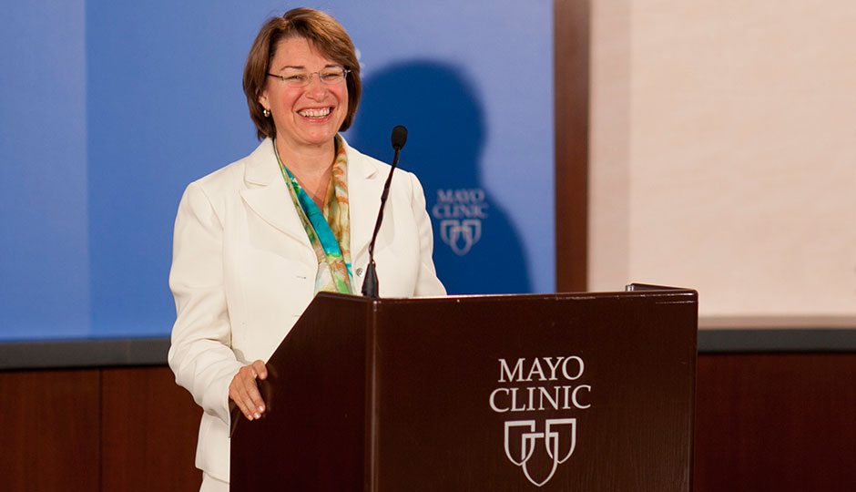 US Senator Amy Klobuchar participates in a NIH news conference at Mayo Clinic in August 2011.