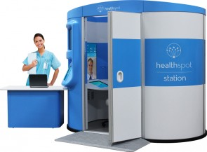 The private, 40-square-foot, telemedicine HealthSpot kiosk (pictured above) provides patients virtual access to board-certified physicians in convenient locations for minor health problems for a nominal fee. (Image copyright HealthSpot)