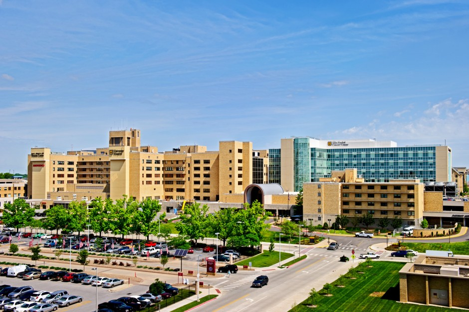 Exterior photo of University Hospital with new patient care tower addition.
