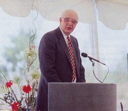 Keynote speaker Paul A. Volcker, Federal Reserve Board chairman, addresses the dedication gathering.