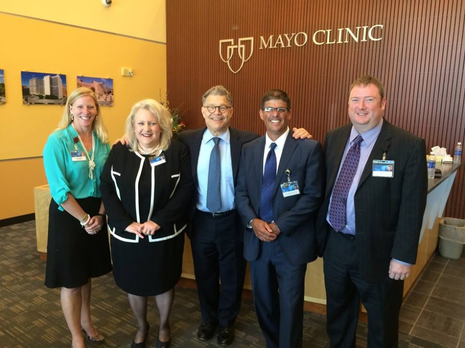 Pictured from left to right: Jennifer Mallard, Director of Federal Relations, Mayo Clinic, Marie Brown, Associate Administrator of the Department of Laboratory Medicine and Pathology, Mayo Clinic, U.S. Senator Al Franken, William Morice, M.D., Ph.D., Chair of the Department of Laboratory Medicine and Pathology, and John Butz, Operators Administrator of Mayo Medical Laboratories.