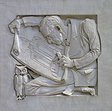 This caricature shows Dr. Plummer hard at work with an owl – symbol of wisdom and late-night hours – keeping him company.