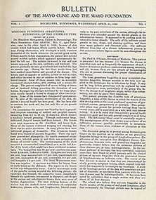 "First issue of ""Mayo Clinic Proceedings,"" 1926."